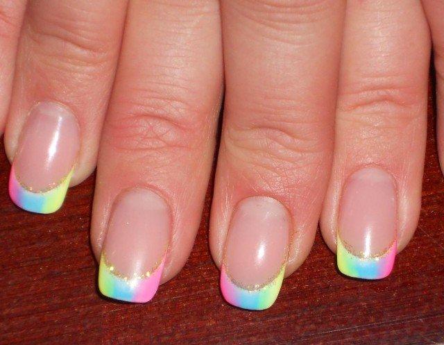 Маникюр френч разноцветный фото