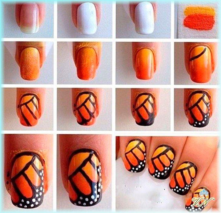Как на ногтях сделать бабочку из 473