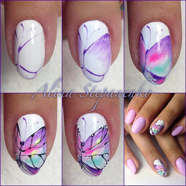Как нарисовать бабочку на ногтях гель лаком